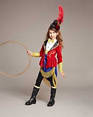 Step into the center ring wearing this costume. Features a velour topcoat with gold trim, attached shirt with bow tie, and skirt. A Wishcraft costume by Chasing Fireflies.