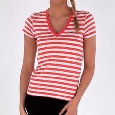 Lacoste Women's Contemporary Striped Jersey V-Neck Tee #VonMaur #Lacoste #Orange #ShortSleeves