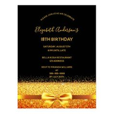 Shop birthday party gold black sparkle invitation postcard created by Thunes. Personalize it with photos & text or purchase as is! 18th Birthday Party, Birthday Party Invitations, Birthday Ideas, Birthday Gifts, Black Sparkle, Black Gold, Gold Glitter, Gold Invitations, Glamour