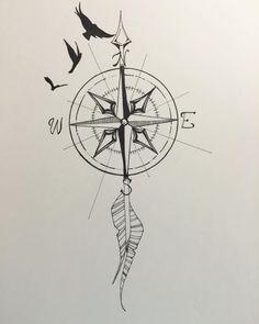 Compass bird arrow compass tattoo, arrow tattoos, tatoos, feather t Arrow Compass Tattoo, Compass Tattoo Design, Arrow Tattoos, Feather Tattoos, Foot Tattoos, Forearm Tattoos, Body Art Tattoos, Small Tattoos, Sleeve Tattoos