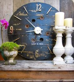 Large Reclaimed Wood Wall Clock – Black | This beautiful hand-painted wall clock is crafted from reclaim... | Lamps