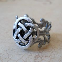 Celtic Knot Antiqued Silver Unisex Ring by EnchantedLockets