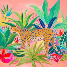 Leopard In Succulent Garden Duvet Cover by Sun Lee - Twin XL: x Japanese Cartoon, What Inspires You, Love Drawings, Freelance Illustrator, Succulents Garden, How To Do Yoga, Wall Collage, Pillow Shams, Fiber Art