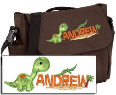 Personalized Diaper Bag for Baby - Applique Brontosaurus