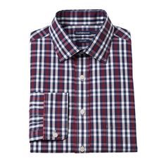 Men's Croft & Barrow® Fitted Easy-Care Spread-Collar Dress Shirt, Size: 18.5 36/37, Dark Red
