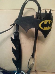 batman saddle | Custom made Batman headstall. I love that he made the cheek pieces ..