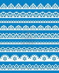 Lace designs for piping on cookies  http://www.123rf.com/photo_10966273_set-of-different-lace-patterns-eps8.html