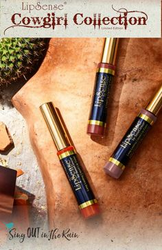 New LipSense Cowgirl Collection by SeneGence was released with 3 Limited Edition colors. Two colors are previous customer favorites: Brick and Glam Doll. GiddyUp is a NEW color to SeneGence. All 3 have a matte finish. #brick#glamdoll#giddyup #senegence#lipsense#cowgirlcollection