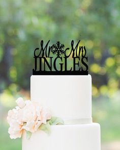Winter Wedding Cake Topper  Personalized by TheEliteBride on Etsy