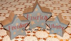 Patriotic star boxes hand painted paper by countrylanefolkart, $12.50