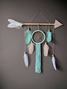 This lovely nursery dreamcatcher wall hanging gives shabby chic touch to your room. Perfect decoration item for little adventurers room. Great gift for baby shower, for birthdays or valentines day. It will watch over your babys dreams, keeping away nightmares. And you can rest