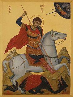 Saint Georges (megalomartyr en Grèce) fut adoré des chrétiens (il est le saint patron de la Georgie, de l'Angleterre, de Venise, de Barcelone...). Selon Jacques de Voragine dans La légende dorée, le saint martyr vécut à l'époque de l'empereur Dioclétien. Il serait né en Cappadoce (vers 280-285) et se fit connaître au IVe siècle. Sa mère, chrétienne, lui aurait « donné des ailes » pour devenir un héros digne de la mythologie grecque (il se battit contre les impies païens, justement).