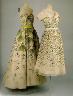 Dior Ball Gowns | Christian Dior dresses. Left: 1952 ball gown. Right: 1952 cocktail ...