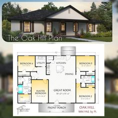 The Oak Hill is an incredible 1664 square foot plan. It boasts 4 bedrooms, 2 baths, and so much storage space! Wall Section: A vertical cutaway view of the house from roof to foundation showing details of framing, construction, flooring and roofing. 4 Bedroom House Plans, Barn House Plans, New House Plans, Small House Plans, Square House Plans, Floor Plan 4 Bedroom, Modern House Floor Plans, Barn Plans, Pole Barn Homes Plans