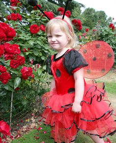 Cute ladybird costume for kids - the perfect outfit to wear at a ladybird birthday party!