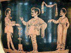Apulian red-figure bell-krater, half of the century BC. Theater, Roman Theatre, Greek Pottery, Pottery Painting, Poses, Roman Empire, Archaeology, Scene, Comics