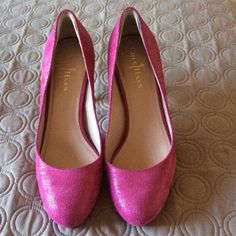 Cole Haan Heels Magenta colored..Nike air heel..used but still in great condition..minor stains.. About a 3 inch heel..please feel free to ask questions or more pics.. Cole Haan Shoes Heels