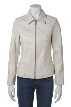 Womens leather jacket custom made style 1062NL White front image