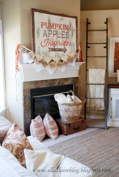 Autumn Decorations AND I LOVE the rustic ladder idea for holding blankets! I have so many my wooden chest is over flowing!