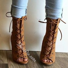 Shoepie Lace Up Sandal Booties
