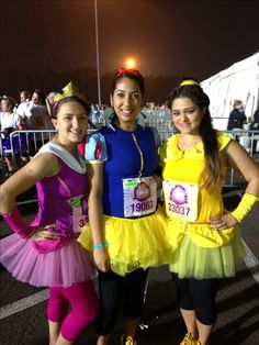 Run Disney - Sleeping Beauty, Snow White and Belle running costume. 2013 Princess Half Marathon