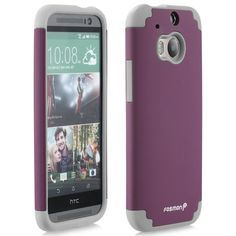 Fosmon HYBO-DUOC Slim Fit Dual-Layer Hybrid Case for 2014 HTC One (M8) - Retail Packaging (Gray / Plum):Amazon:Cell Phones & Accessories