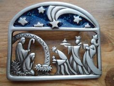 Vintage Signed JJ Silver pewter Blue Nativity Scene