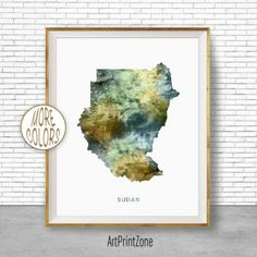 Sudan Art Travel Map Decor Prints Living Room Wall Office Pictures Print Zone