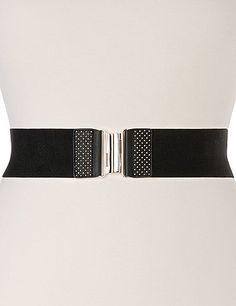 A wide stretch belt is a great way to flatter your waist, and we've given it a trendy touch with two-tone studs and a silvertone buckle.  lanebryant.com