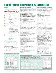 Microsoft Excel 2010 Functions  Formulas Quick Reference Guide (4-page Cheat Sheet focusing on examples and context for intermediate-to-advanced functions and formulas)