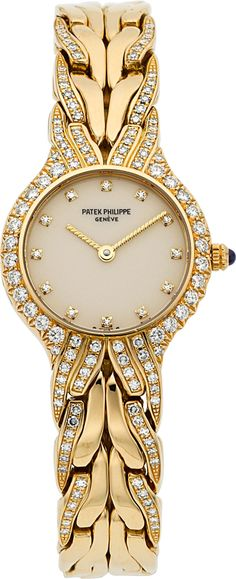 "Diamond Watches Ideas : Illustration Description Timepieces:Wristwatch, Patek Philippe Ref. ""La Flamme"" Fine Lady's Diamond &Gold Wristwatch, circa … Image Patek Philippe, Elegant Watches, Beautiful Watches, Stylish Watches, Luxury Watches For Men, Schmuck Design, Luxury Jewelry, Quartz Watch, Michael Kors Watch"