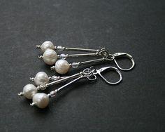 beaded earrings white creamy fresh water pearls by koralikowyraj