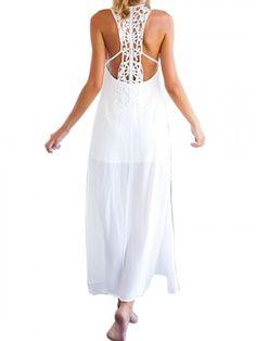white crochet back maxi dress | USTrendy   #ustrendy www.ustrendy.com
