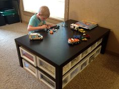 LEGO TABLE: $30 table from Ikea & screwed in bins from Dollar General.