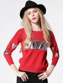Red Round Neck Slim Pullovers Woman Sweater