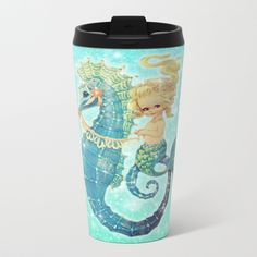 Glitter Mermaid Seahorse Travel Mug by frostbytegraphics Vintage Mermaid, Mermaid Birthday, Mermaids, Travel Mug, Glitter, Mugs, Metal, Party, Tumblers