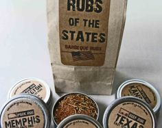 Gusto's Rubs of the States - Barbecue Rub Gift Set -  BBQ Grilling Date - Father's Day