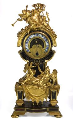 ASTRONOMICAL CLOCK France Circa 1715. Structure inlaid ebony oak, brass and tortoise; bronze A. 113 cm; L. 52 cm; Prof.42 cm André-Charles Boulle, attrib. (1642-1732) Jacques Thuret (1669-1738).