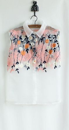 2013 embroidery hollow flowers wavy lace - through blouse shirt - http://zzkko.com/book/shopping?note=23712 $8.17