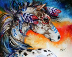 M BALDWIN  APPALOOSA INDIAN WAR PONY OIL PAINTING  HORSE ART by MARCIA BALDWIN