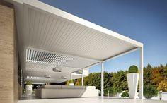 moderne Terrassenüberdachung aus Aluminium - Bioshade Addossata von Tenda Service