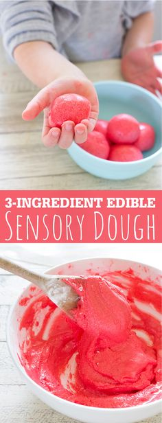 3 Ingredient Edible Sensory Dough made with Jello is fun for toddlers to make and play with!