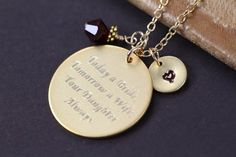 Mother of the Bride Gift - Personalized Engraved Pendant Necklace Gold - Today a Bride Tomorrow a Wife Your Daughter Always - Custom made Wedding Jewelry by Shiny Little Blessings.