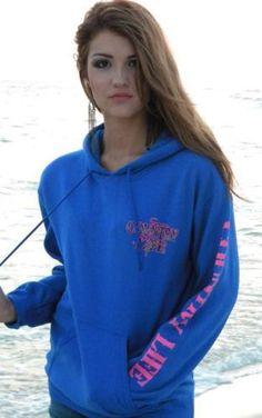 Country Life Outfitters Deer Skull Girls Hoodie Sweatshirt Blue Pink NWT