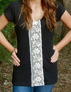 T-Shirt Refashion.attach a lace to a plain t-shirt to make it some thing special.