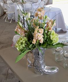 Pewter Cowboy Boot Vase
