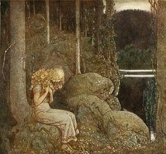 John Bauer (June 4, 1882 – November 20, 1918) was a Swedish painter and illustrator best known for his illustrations of Bland tomtar och troll (Among Gnomes and Trolls). Princess Tuvstarr and the Fishpond (named after Carex cespitosa), painted in 1913, is perhaps Bauer's most notable work. John Bauer, Children's Book Illustration, Book Illustrations, Edmund Dulac, Elsa Beskow, Kay Nielsen, Arthur Rackham, Nordic Art, Scandinavian Art