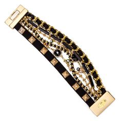 JJ Caprices - Black Leather Strips with Evil Eye Bracelet by LK Designs