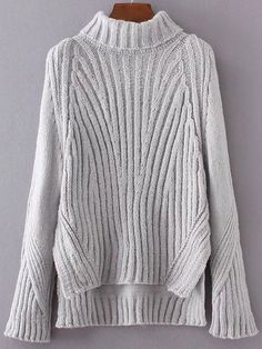 To find out about the Grey Turtleneck Side Slit Dip Hem Sweater at SHEIN, part of our latest Sweaters ready to shop online today! Ribbed Turtleneck, Ribbed Top, Affordable Clothes, Long Sweaters, Pullover Sweaters, Grey Sweater, Lana, Knitwear, Turtle Neck