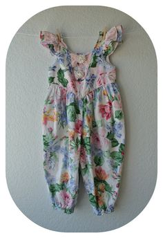 Vintage Baby Girl Clothes  Floral Jumper  Size 18 by NellsNiche, $12.00